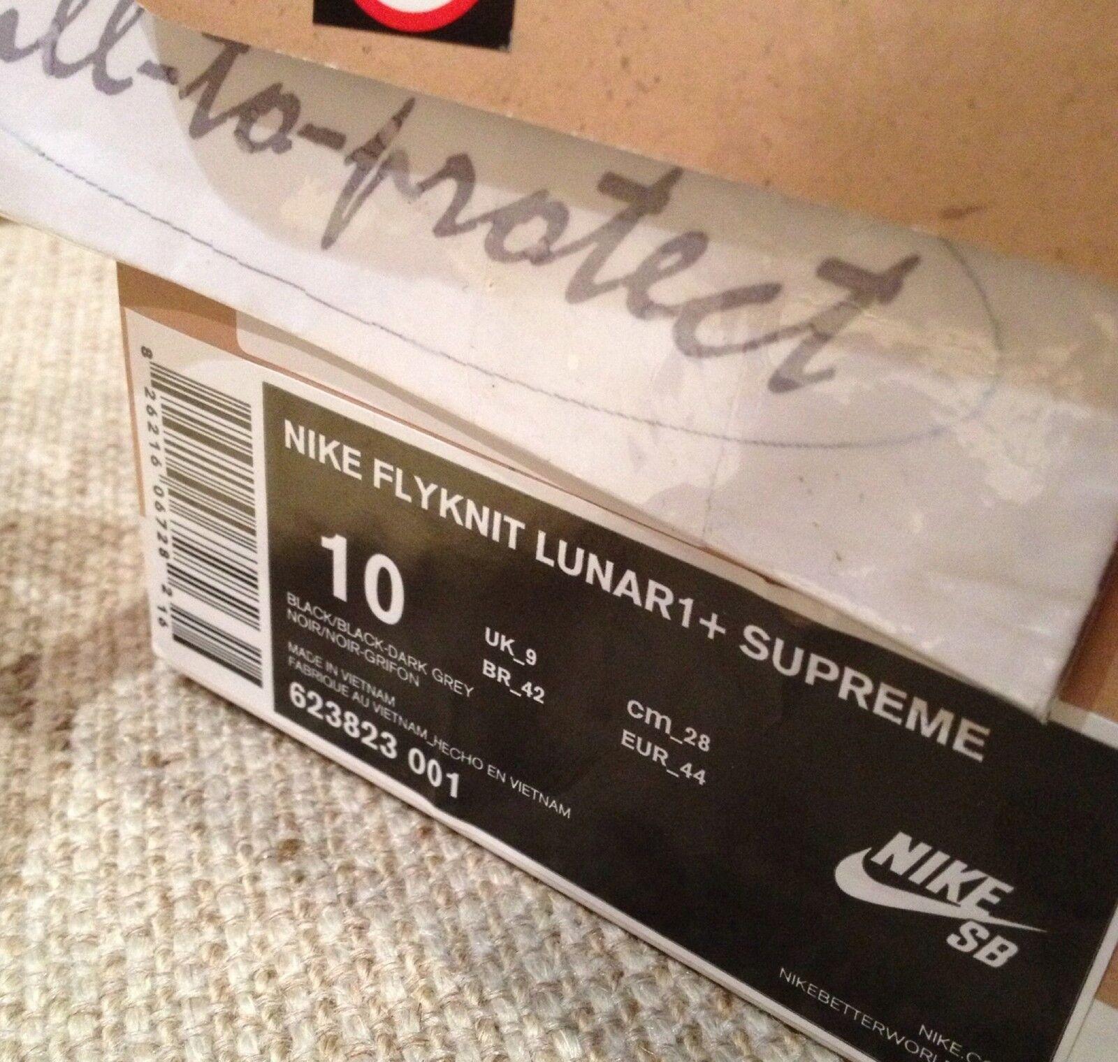 NIKE FLYKNIT LUNAR 1 SUPREME Noir Sz US 87 HTM 2013 623823-001 Box Logo 2013 HTM 4067c6