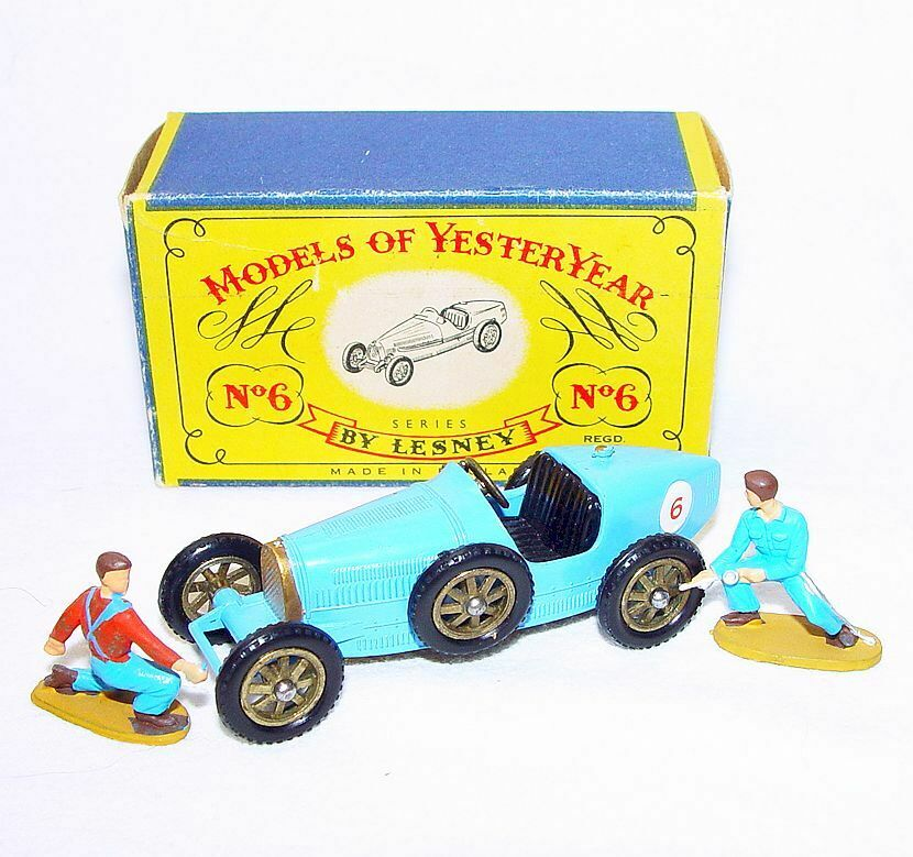 Matchbox Lesney Moy 1 48 Supercharged Bugatti Tipo 35 Y-6 azul + Mecanics NMB`60