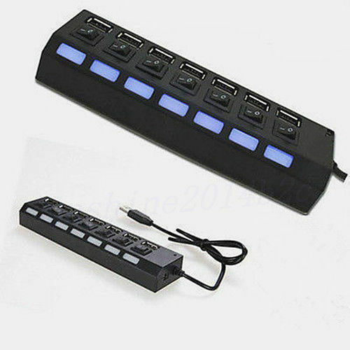 7-Port USB 2.0 Multi Charger Hub+High Speed Adapter ON//OFF Switch forLaptop PC K