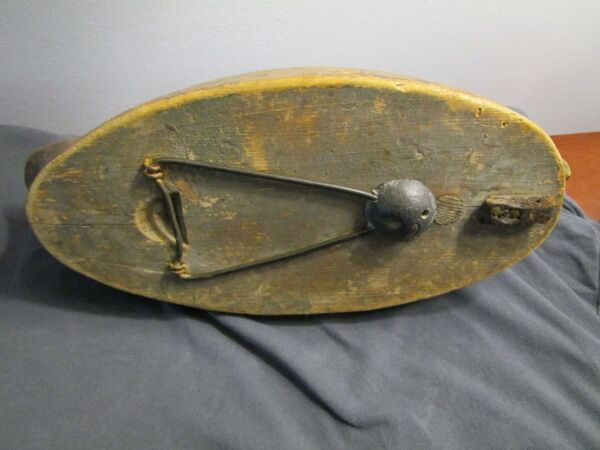 Antique Hand Carved Original Paint Folk Art Duck Decoy Hinged Iron Anchor c1900