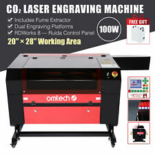 100w 28x20 70x50cm Bed Co2 Laser Engraving Cutter Engraver W Fume Extractor