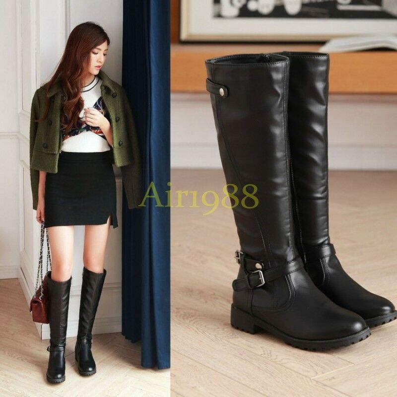 New Womens Pu Leather Knee High Boots Riding Biker Belt Buckle Boots Fashion