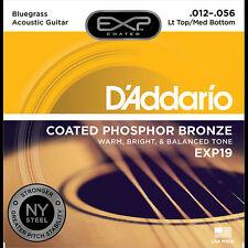 D'Addario EXP19 Light Top Med Bottom Bluegrass Acoustic Guitar Strings 12-56