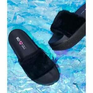 Ladies-Girls-Rocket-Dog-Rocker-Ice-Cap-Slide-Sandal-Flat-Flip-Flop-Black-Red