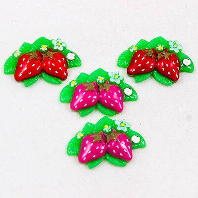Cute Pair Strawberry Fruit Resin crapbooking Flatback Cabochons Craft DIY R0166