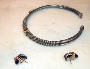 DAVID-YURMAN-3-PC-SUITE-GOLD-amp-SILVER-NECKLACE-amp-PR-EAR-CLIPS-EMERALD-100-GR