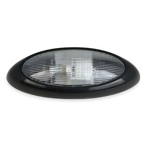 12v Rv 12 Quot Led Scare Porch Light Oval Black With Clear