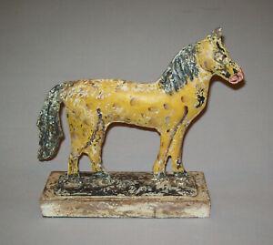 Old Antique Vtg 19th C 1800s Folk Art Tin Horse Figure Full Body Original Paint