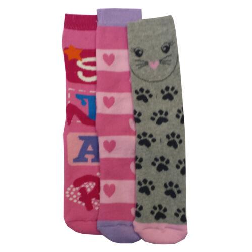 6 x Girl Kid Children Gripper Thermal Warm Motif Design Socks Anti Non Slip Grip