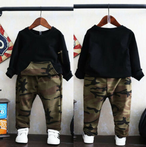 2pcs Toddler Kids Baby Boys Girls Clothes Outfits Camo T-shirt Tops+Pants Set