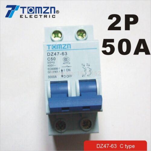 2P 50A 400V~ 50HZ//60HZ Circuit breaker AC MCB safety breaker C type
