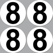 4 Aufkleber Sticker Nummer Zahl Startnummer 8 Racing Kart Gokart Auto Rennsport
