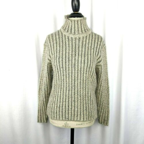 Inis Meain Gray Beige Alpaca Cable Knit Sweater S… - image 1