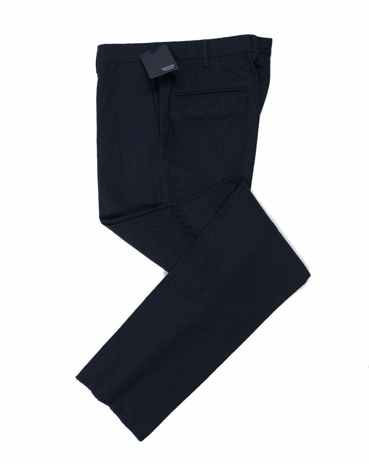 INCOTEX Fancy Navy bluee Cotton Pants   European Fit
