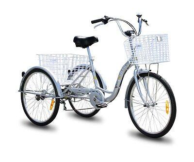 "Trike Bike Adult Tricycle 24"" Aluminium 3 Wheeled - 6 Gears & Baskets - SILVER"