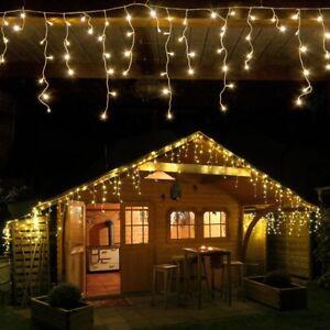 960 led eisregen lichterkette 24 m lang warmwei weihnachten deko au en ebay. Black Bedroom Furniture Sets. Home Design Ideas