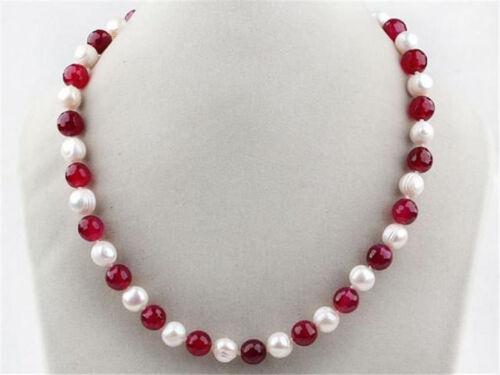 "36/"" 7-8 mm Blanc Naturel Perle /& 8 Mm Jade Pierres Précieuses Perles Collier Vente Chaude Long 18/"""