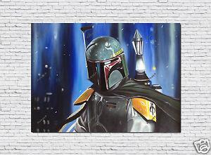 Star Wars Oil Painting HandPainted Art Boba Fett Portrait Canvas Not Print 36x48