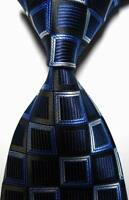 New Classic Patterns Dark Blue White JACQUARD WOVEN 100% Silk Men's Tie Necktie