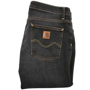 Carhartt-W-039-Texas-Womens-Straight-Fit-Jeans-Size-31x32-Grey-Zip-Fly-Low-Waist