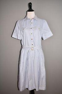 TORY BURCH NEW $348 Striped Cotton Shirtdress Surfside White Oxford Size 8
