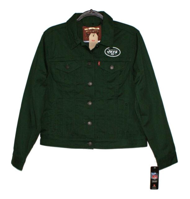 30d86314 Levi's Womens Trucker Jacket Green Twill Embroidered NFL NY Jets Logo - XL