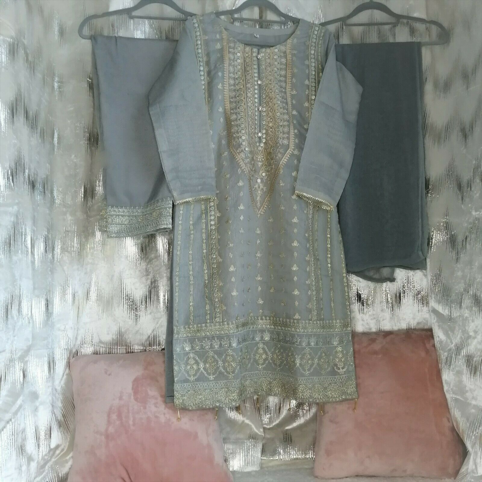 Readymade Shalwar Kameez Organza Grey Large Fancywear COMES WITH PLAIN SHALWAR