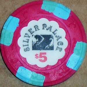 Old-5-SILVER-PALACE-Casino-Poker-Chip-Vintage-Antique-H-C-Mold-Cripple-Creek-CO