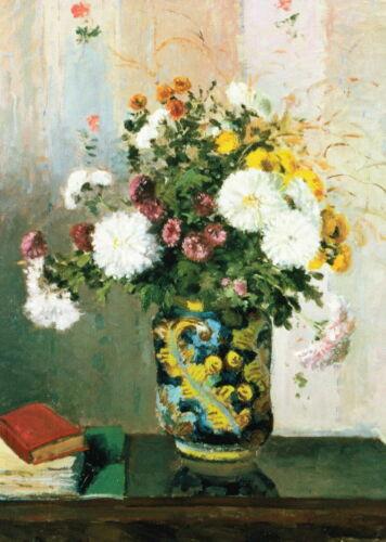 """Chrysanthemen/"""" Kunstkarte Camille Pissarro /""""Blumenstrauß"""