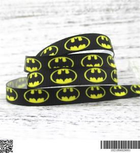 Noir Batman Ruban Taille 3//8 Cheveux Noeuds Bandeaux Gâteau d/'anniversaire 2 Mètre Jaune