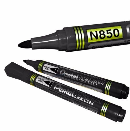 4x N850 Pentel marcador permanente pluma Bala Punta De Tinta Negro azul o verde.