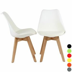 2x-Dining-Office-Lounge-Modern-Chair-Pair-Wooden-Home-Kitchen-Furniture-White