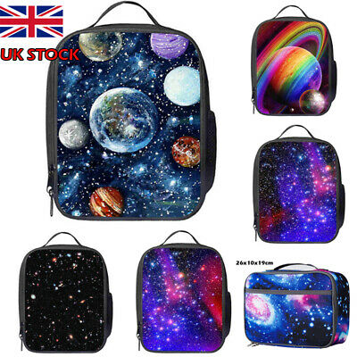 Galaxy Starry Sky Insulated Lunch Bag Box Pack Kids Boys Girl School Food Picnic