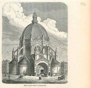Eglise-royale-Sainte-Marie-a-Schaerbeek-Schaarbeek-Bruxelles-GRAVURE-PRINT-1880