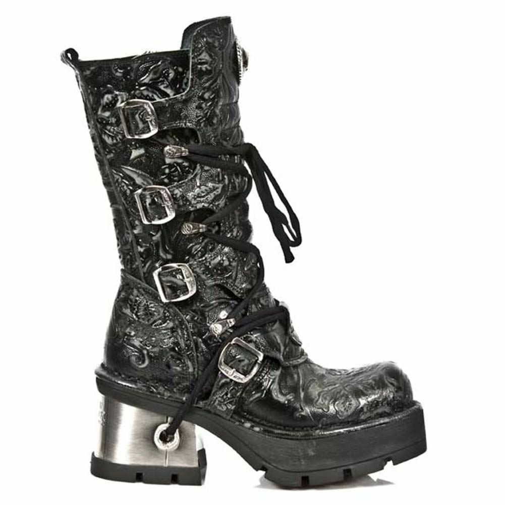 Newrock New Rock 373 Q Metallic Flower Biker Botas Negro Leather Goth Biker Flower  Fashion c7b268