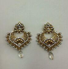 New Bollywood Elegant Indian Earrings costume  Vintage in gold/pearl jewellery
