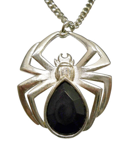 Polished Silver Finish Spider with Teardrop Stone Body Pendant Necklace NK-466