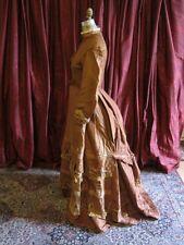 Brown Silk Antique Victorian Bustle Gown