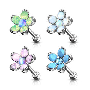 *Opalite Floral Piercing  Surgical SteelBasic Barbell End 16G*6mm L