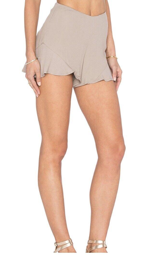 Free People Women's Shorts Beige Hemp Flutter Side Zip Stretch Size 12 NWT