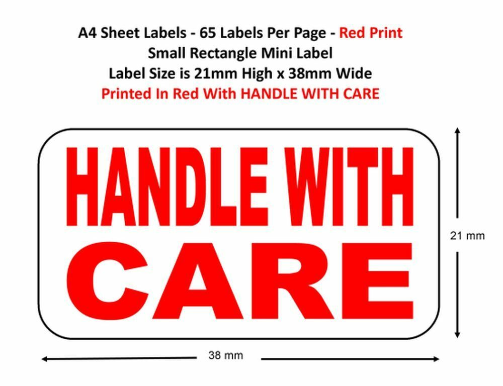 Handle With Care A4 Sheets Labels Choose Qty