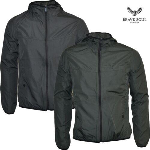 Mens Brave Soul Jacket Thin Windbreaker Hooded Zip Up Coat