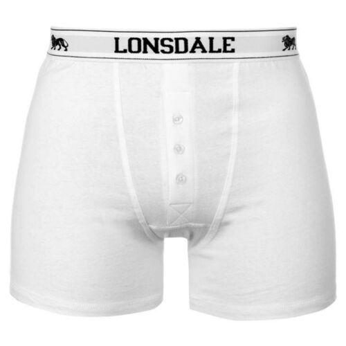 Blanc Homme LONSDALE Boxers Homme Coton Boxer Sous-Vêtement En Blanc Pur