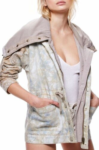 Free People Layered Parka Tie Dye Hooded Cowl Neck Embroidered Jacket OB576010