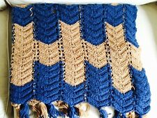 "Vintage Ripple Chevron Afghan Crochet Throw 80""x40"" Tan Blue Fringed"