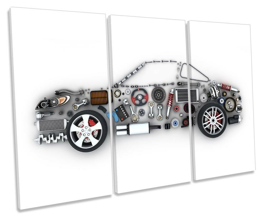 Car Parts Garage Mechanical Framed TREBLE CANVAS PRINT Wall Art