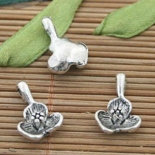16pcs tibetan silver color flower drop charms h3044