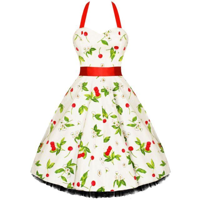 H & R WHITE Cream wtih Cherry Cherries Dress Vintage New pinup retro Lucy 0516