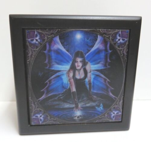 """Details about  /Anne Stokes Collection /""""Immortal Flight/"""" Tile Lined Black Wooden Box ACK"""