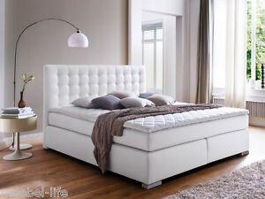 isabell i boxspringbett doppelbett boxspring bett hotelbett weiss 160x200 h3 ebay. Black Bedroom Furniture Sets. Home Design Ideas